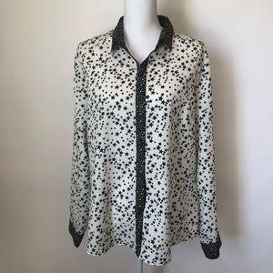 NY&Co button up blouse black stars XL